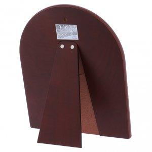Quadro bilaminato retro legno pregiato finiture oro Sacra Famiglia rossa 24,5X20 cm s3