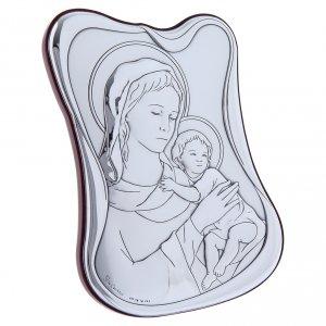Quadro Madonna Bambino bilaminato retro legno pregiato 14X10 cm s2