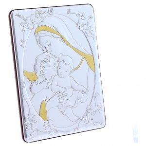 Quadro bilaminato retro legno pregiato rifiniture oro Madonna Angelo e Gesù 21,6X16,3 cm s2
