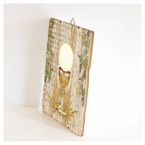 Quadro legno sagomato gancio retro Calice Comunione s2