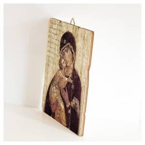 Quadro legno sagomato gancio retro Icona della Madonna di Vladimir s2