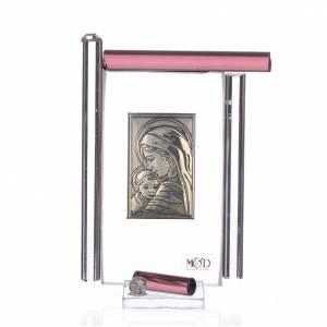 Bomboniere e ricordini: Quadro Maternità Arg. e vetro Murano Viola h.9