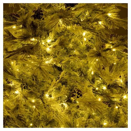 Árbol de Navidad marrón 230 cm escarchado piñas y purpurina 450 luces LED s6