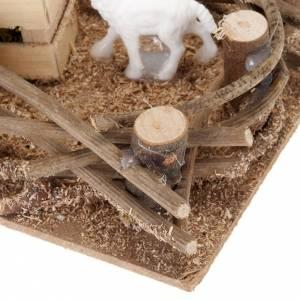 Animales para el pesebre: Recinto ovejas para belén de 10 cm, medidas 16 x 10 cm.