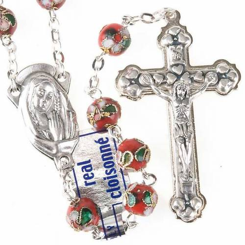 Red cloisonné rosary s1