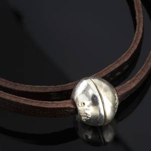 Religious bracelet in leather with zamak sphere lenght 39 cm s4