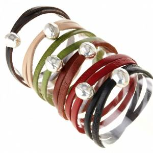 Religious bracelet in leather with zamak sphere lenght 39 cm s1