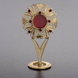 Reliquary in 800 silver filigree with red stones s2