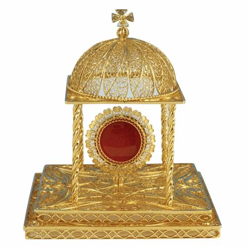 Reliquary in silver 800 with base, 24k gold plated finishing s1