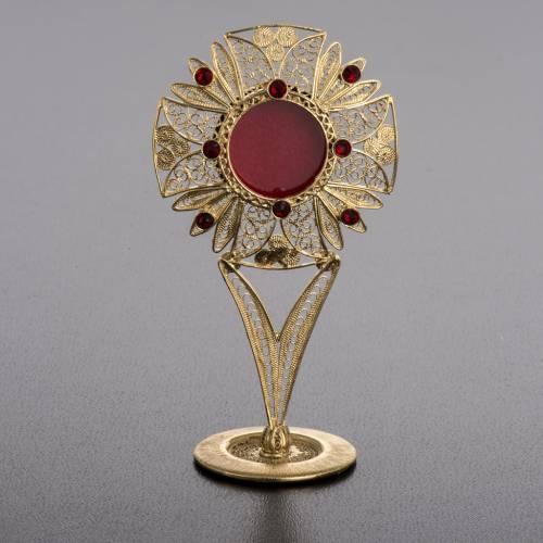 Reliquiario filigrana arg. 800 pietre rosse s2