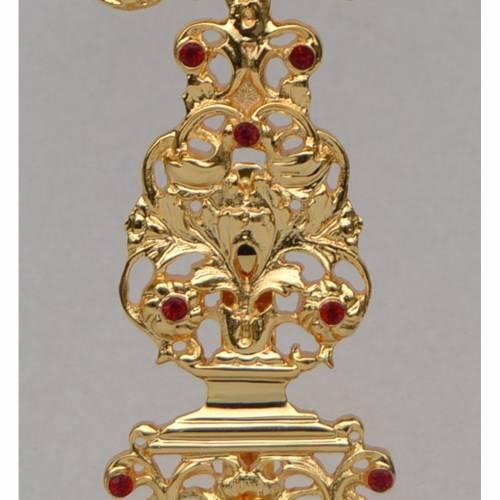 Reliquiario ottone fuso dorato h 42 cm pietre rosse s3