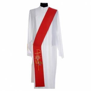 Stoles: Reversible diaconal stole white red, chalice, host and grapes