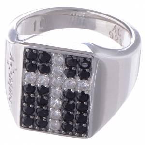 Gebetsringe: Ring AMEN Mod. Chevalier rodinierten Silber 925