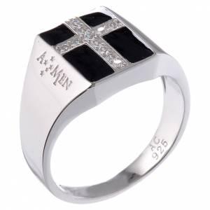 Gebetsringe: Ring AMEN Mod. Chevalier Silber 925 und Emaillack