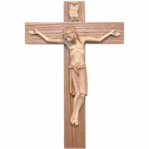 Romanesque crucifix, multi-patinated Valgardena wood s1