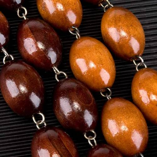 Rosario capoletto legno grano ovale 30 mm s4