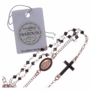Rosario collana argento 925 rosato e Swarovski neri s4