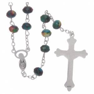 Rosari vetro: Rosario con grani sfaccettati in vetro verde