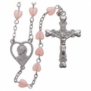 Rosari similperla: STOCK Rosario cuoricino plastica legatura metallo rosa
