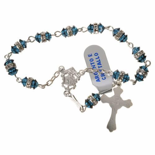 Rosario decina argento 800 cristallo blu s2