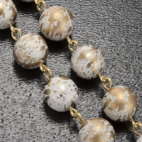 Rosario Ghirelli Gruta de Lourdes, blanco con dorado s5