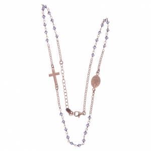 Rosario girocollo argento 925 rosato con Swarovski viola s3