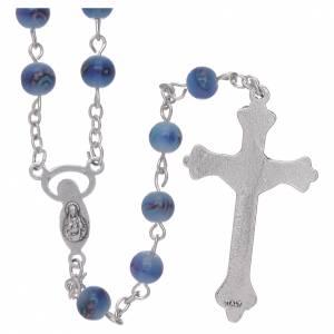 Rosari vetro: Rosario grani vetro sfumato 6 mm blu