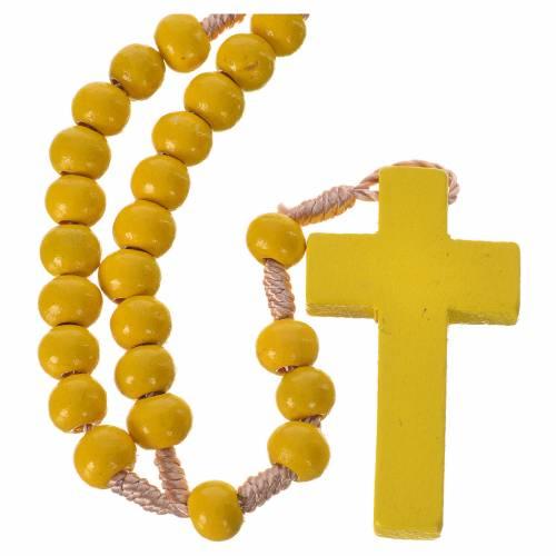 Rosario in legno giallo 7 mm legatura seta s1