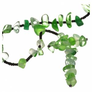 Rosario Medjugorje pietra dura verde trasparente s1