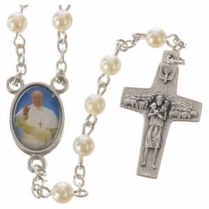 Rosarios símil perla: Rosario Papa Francisco imitación perla 5 mm