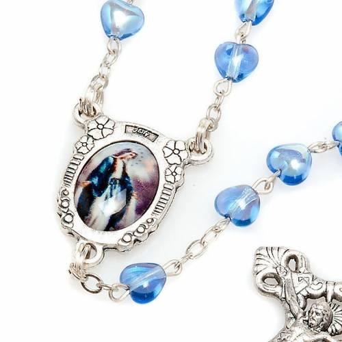 Rosario vetro blu Madonna Miracolosa s4