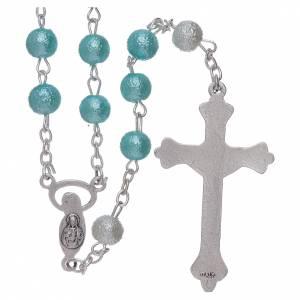 Rosari vetro: Rosario vetro satinato similperla 6 mm azzurro