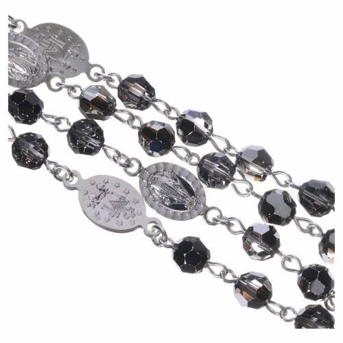 Rosary beads in 800 silver, black Swarovski, Miraculous Medal s4