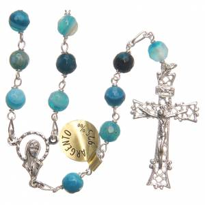 Silver rosaries: Rosary beads in Brazilian agate and sterling silver 6mm blue