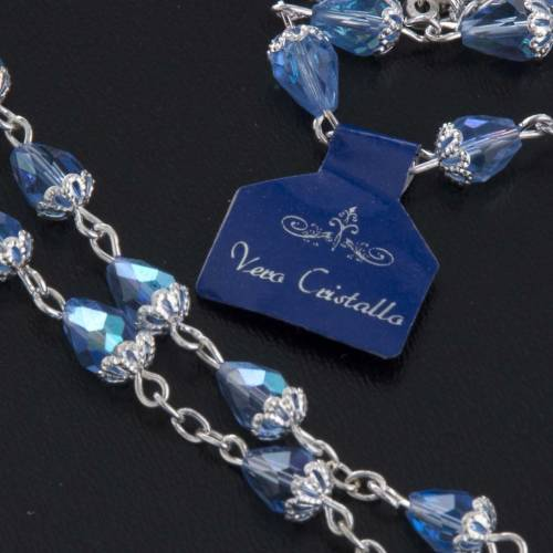 Rosary beads in crystal, with blue drops s6