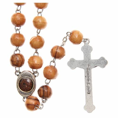 Rosary beads in Holy Land olive tree wood with soil s2