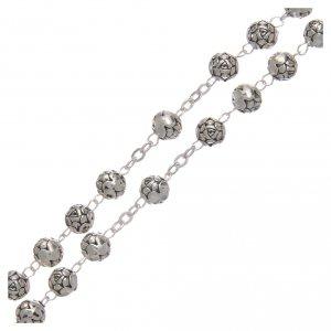 Metal rosaries: Rosary beads in metal with roses and pastoral cross