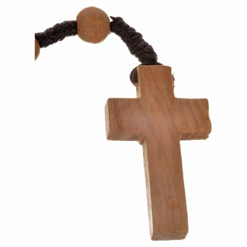 Rosary beads in Palestinian olive wood and rope 8 mm s2