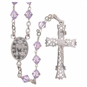 Silver rosaries: Rosary beads in Swarovski and sterling silver 6mm purple
