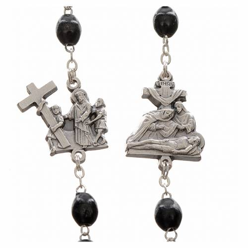 Rosary beads, stations of the cross, black s3