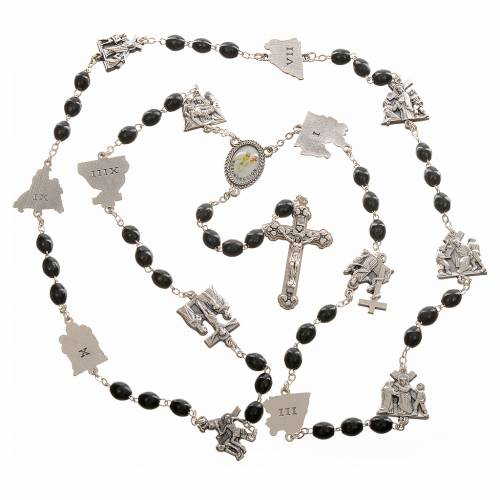 Rosary beads, stations of the cross, black s4