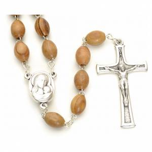 Rosary Holy Land olive wood 7x10mm s1