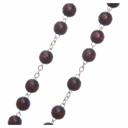 Rosary in burgundy wood with center piece, talking, Pope Francis prayer ENGLISH 8 mm s3