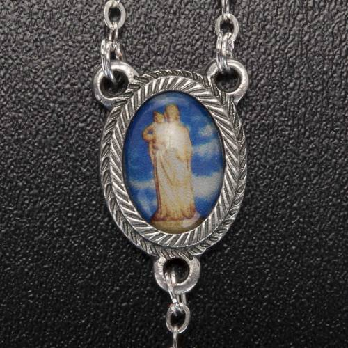 Rosary in glass with Our Lady of Gonare, blue, turquoise, pink s5