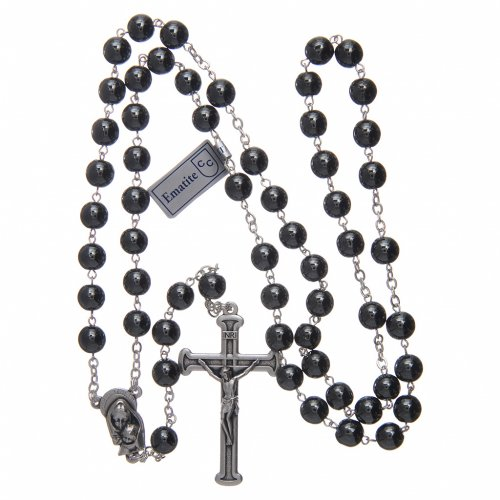 Rosary in hematite with silver cross s4