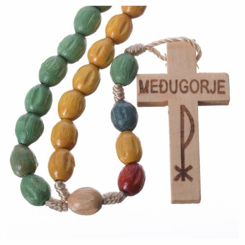 Rosary in Medjugorje wood with coloured grains s1