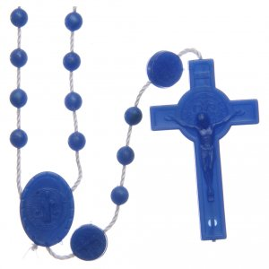 Rosary in nylon blue Saint Benedict 6 mm s1
