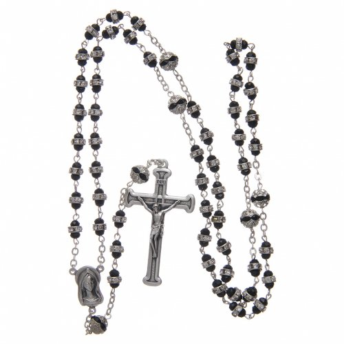 Rosary in oxidised metal black with strass s4