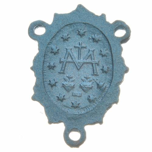 Rosary medal with Madonna, light blue colour s2