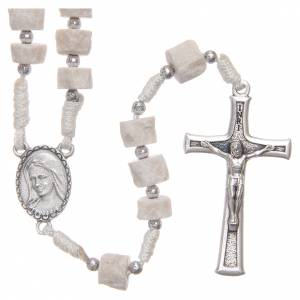 Rosaries and rosary holders: Rosary white Medjugorje stone, white rope